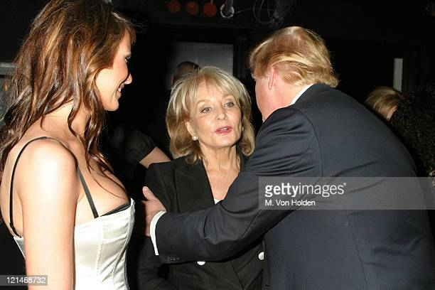 Barbara Walters, Donald Trump, Melania Knauss during A Salute to Barbara Walters in honor of her 25 years on 20/20 at ABC's Times Square Studio in...