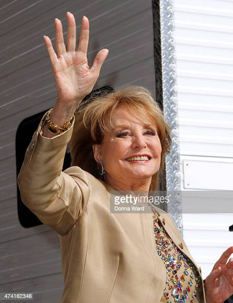 """Barbara Walters leaves after the final episode of """"The Late Show with David Letterman"""" at the Ed Sullivan Theater on May 20, 2015 in New York City."""