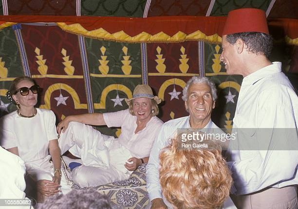 Barbara Walters Liz Smith and Merv Adelson during Malcolm Forbes' 70th Birthday Party 1989 at Tangier Country Club in Tangier Morocco