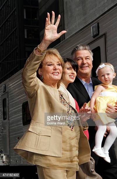 """Barbara Walters photobombs Hilaria Baldwin, Alec Baldwin and Carmen Baldwin after the final episode of """"The Late Show with David Letterman"""" at the Ed..."""