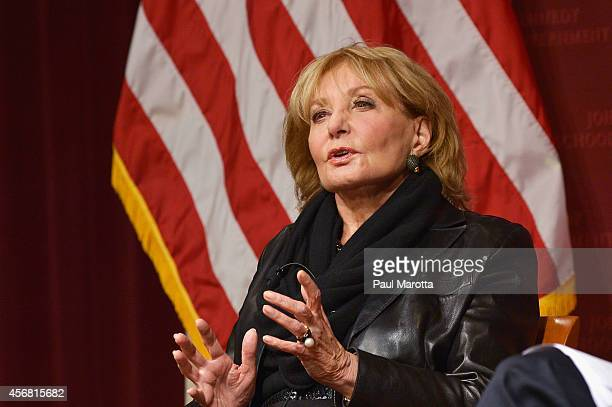 Barbara Walters speaks at the The John F. Kennedy Jr. Forum presents An Evening with Barbara Walters at Harvard University on October 7, 2014 in...