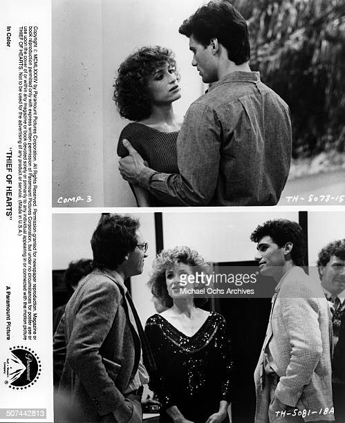 Barbara Williams gets close to Steven Bauer in a scene John Getz is introduced to Steven Bauer by Barbara Williams in a scene from the Paramount...