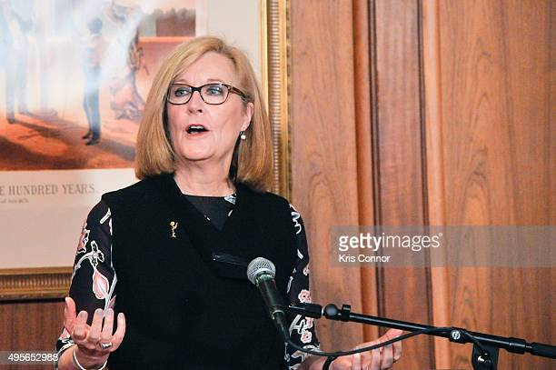 Barbara Williams Perry first vicechair of NATAS speaks during a donation ceremony where feature objects from the daytime drama Days of Our Lives...