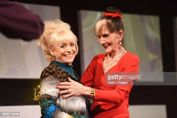 Barbara Windsor and June Brown pose at the TRIC Awards 2017 at The Grosvenor House Hotel on March 14 2017 in London England