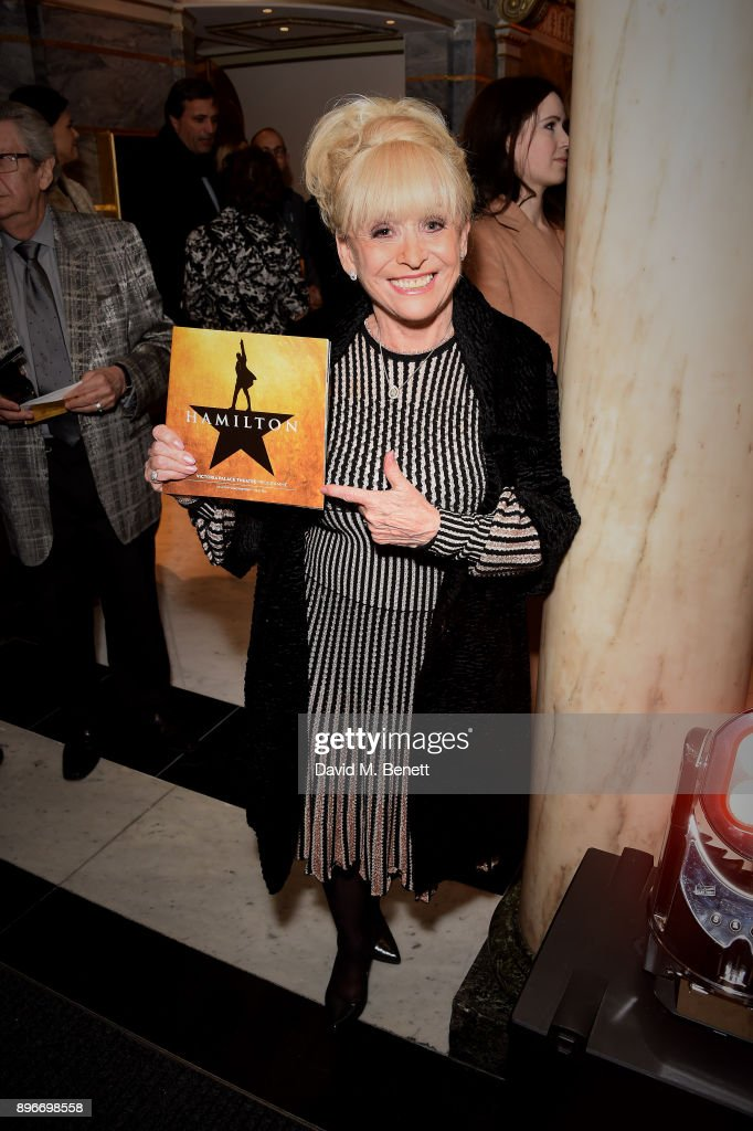 Barbara Windsor attends the press night performance of 'Hamilton' at The Victoria Palace Theatre on December 21, 2017 in London, England.
