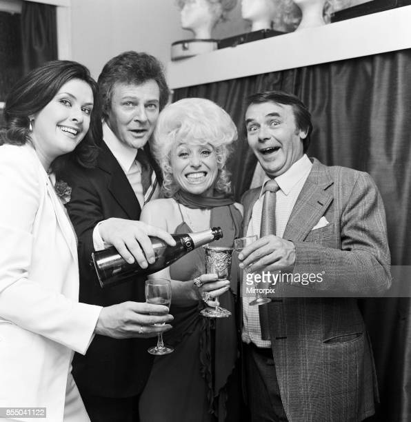 Barbara Windsor backstage at the Grand Theatre Blackpool celebrating with other members of the cast after their first performance of 'The Mating Game...