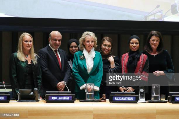 Barbara Winston Abdulla Alnajjar Alya bint Ahmed Al Thani Muna Rihani AlNasser Malika Marie Bilal and Patricia Anne Culhane attends International...