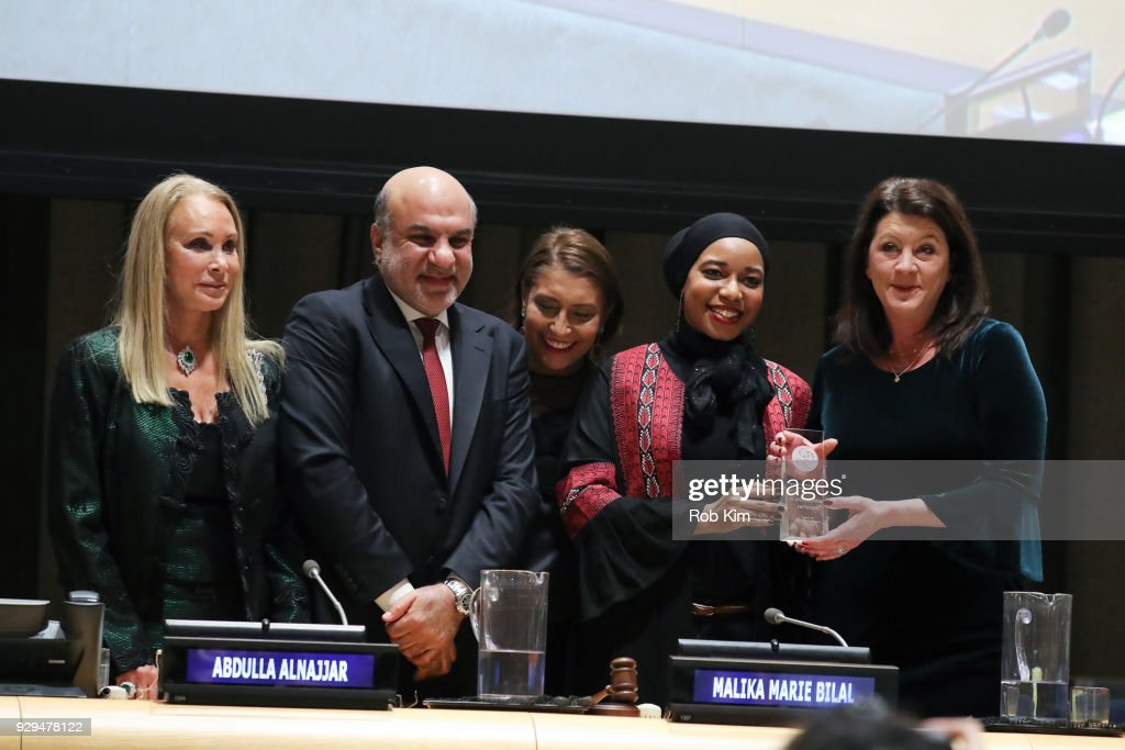 Barbara Winston, Abdulla Alnajjar, Muna Rihani Al-Nasser, Malika Marie Bilal and Patricia Anne Culhane accept an award at the International Women's Day The Role of Media To Empower Women Panel Discussion at the United Nations on March 8, 2018 in New York City.