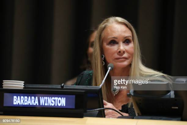 Barbara Winston attends International Women's Day The Role of Media To Empower Women Panel Discussion at the United Nations on March 8 2018 in New...
