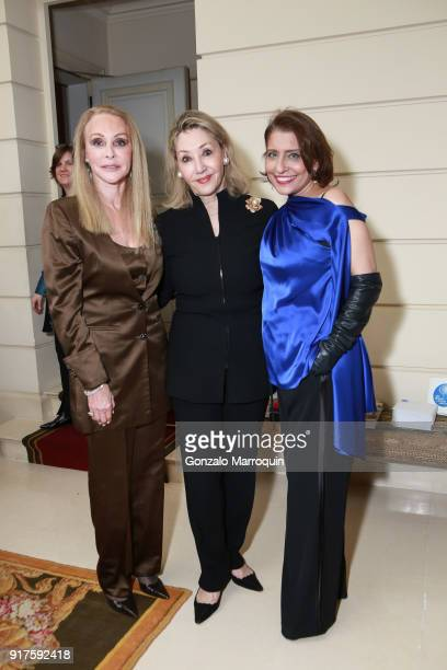 Barbara Winston Susan Gutfreund and Muna Rihani AlNasser during the Susan Gutfreund Hosts UN Women For Peace Association Reception on February 12...