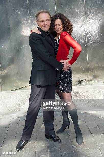 Barbara Wussow and Georg Preusse attend the 'Jedermann' press conference and photocall at Grand Hotel Esplanade on September 8 2014 in Berlin Germany