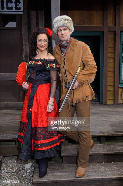 Barbara Wussow and Ralf Bauer attend a press conference presenting new Karl May production 'Im Tal des Todes' at Open Air Theatre at the Kalkberg on...