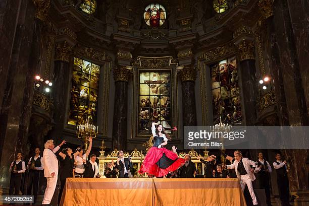 Barbara Wussow performs on stage during rehearsals for 'Berliner Jedermann' at Berliner Dom on October 14, 2014 in Berlin, Germany.
