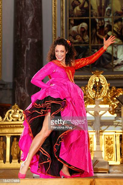Barbara Wussow performs on stage during the 'Jedermann' dress rehearsal at the Berlin Cathedral Church on October 16 2012 in Berlin Germany