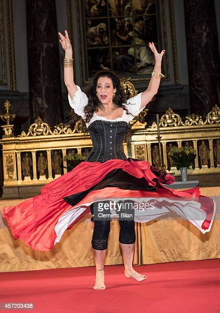 Barbara Wussow poses on stage after rehearsals for 'Berliner Jedermann' at Berliner Dom on October 14 2014 in Berlin Germany