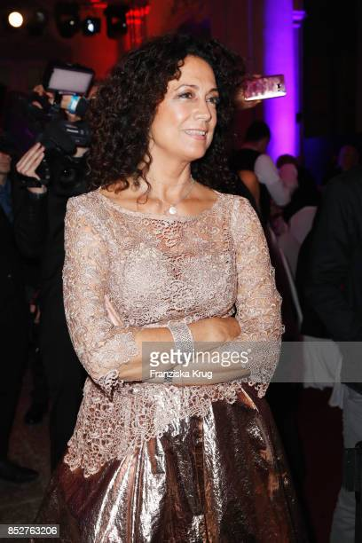 Barbara Wussow wearing a dress by Minx during the Minx Fashion Night in favour of 'Sauti Kuu' of Auma Obama at Wuerzburger Residenz on September 23...