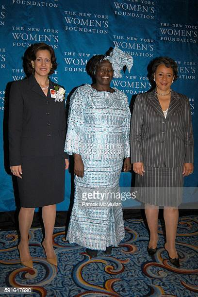 Barbara Wynne Dr Wangari Maathai and Shelia Johnson attend The New York Women's Foundation 2005 'Celebrating Women' Breakfast at New York Marriott...