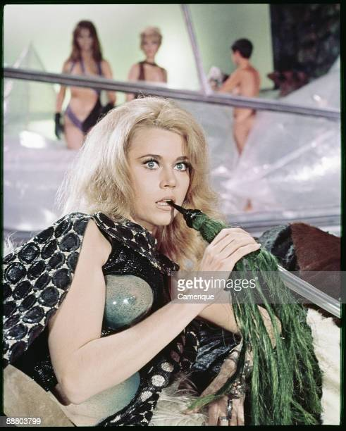 Barbarella shows a look of surprise in a scene from the science fiction movie Barbarella 1968