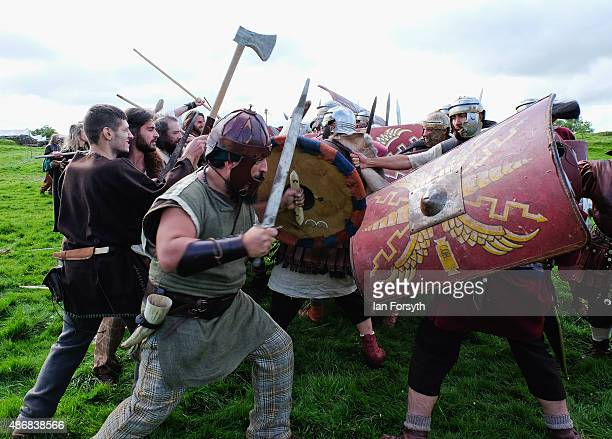 Barbarian fighters clash with Roman soldiers from the Italian reenactment group Legio 1 Italica as they take part in a weekend of authentic events...