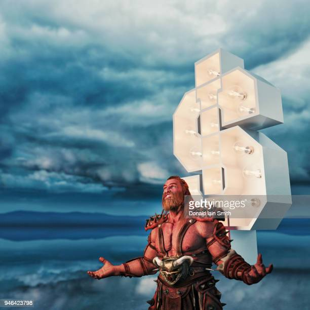 Barbarian warrior with arms raised in front of dollar sign in stormy landscape