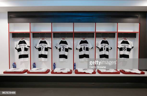 Barbarians changing room before the Quilter Cup match between England and Barbarians at Twickenham Stadium on May 27 2018 in London England