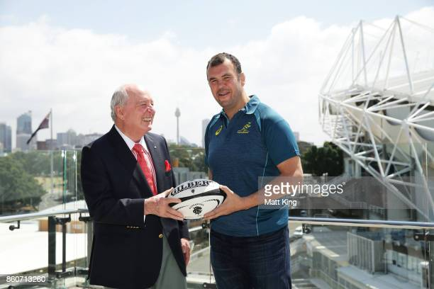 Barbarians coach Alan Jones and Wallabies ciach Michael Cheika pose during a Wallabies Barbarians Media Opportunity at Sydney Cricket Ground on...