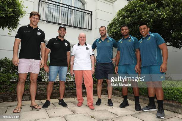Barbarians coach Alan Jones and Wallabies coach Michael Cheika pose with Barbarians players Matt Hodgson and Luke Jones and Wallabies Allan Alaalatoa...