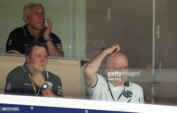 Barbarians coach Alan Jones looks on from the coaching box during the match between the Australian Wallabies and the Barbarians at Allianz Stadium on...