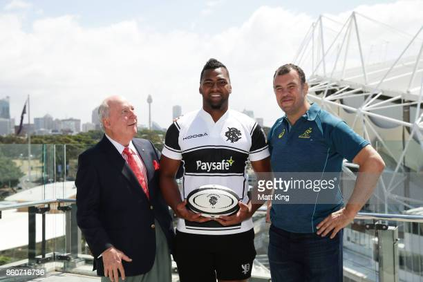 Barbarians coach Alan Jones Taqele Naiyaravoro and Wallabies ciach Michael Cheika pose during a Wallabies Barbarians Media Opportunity at Sydney...
