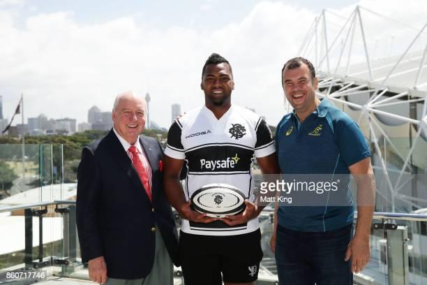 Barbarians coach Alan Jones Taqele Naiyaravoro and Wallabies ciach Michael Cheika pose during a Wallabies Barbarians Media Opportunity at Sydney...