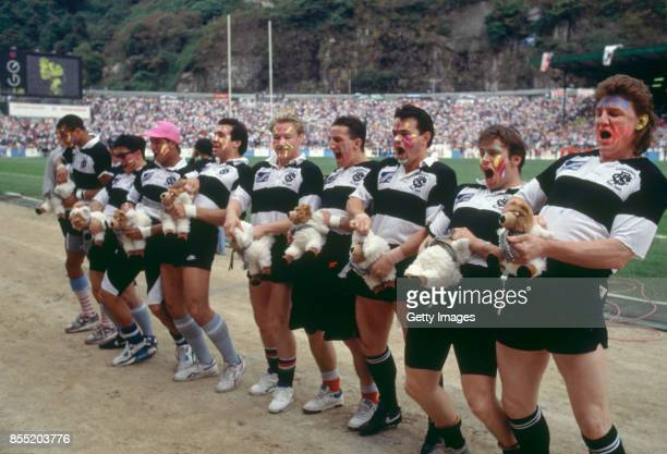 Barbarians players including Micky Skinner Will Carling and Rupert Moon share a joke with the crowd during the 1991 Hong Kong Sevens Tournament