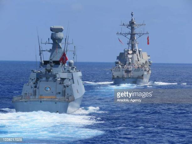 Barbaros frigate, TCG Burgazada corvette and USS Winston S. Churchill destroyer take part in joint maritime training exercises in the Eastern...