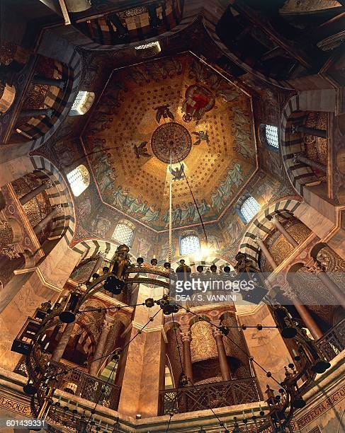 Barbarossa chandelier and vault of the Palatine Chapel 9th century Aachen Cathedral North RhinelandWestphalia Germany