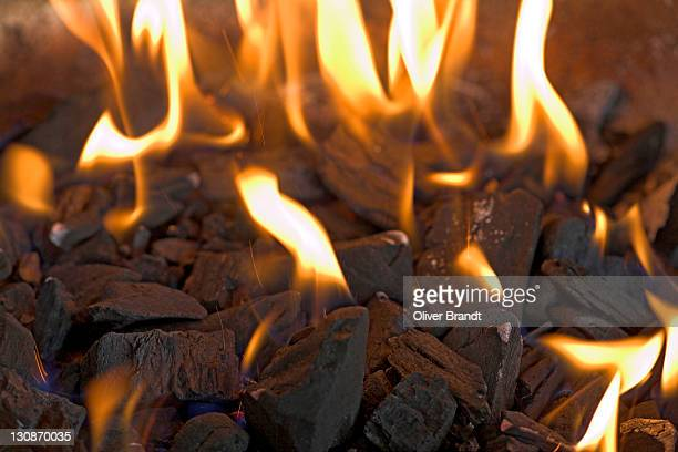 Barbecue, burning charcoal