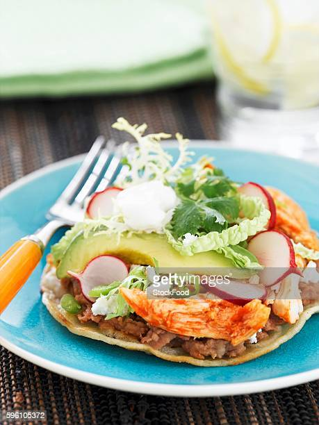 Barbecue Chicken Tostada with Avocado and Radish