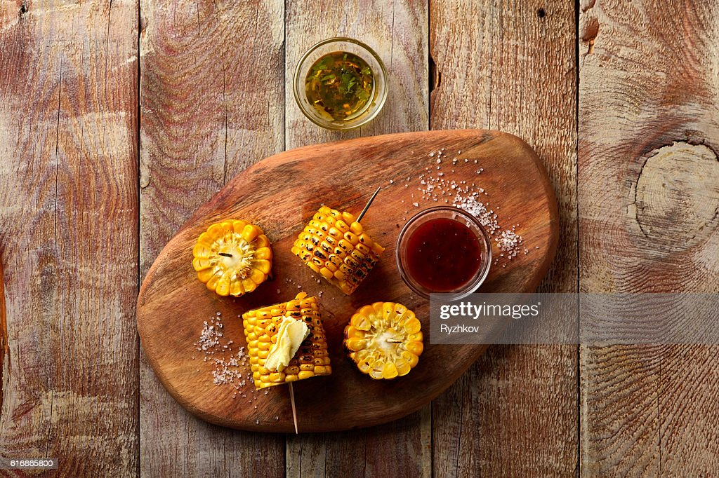 Barbecue Corn on Rustic Wooden Table : Stock Photo