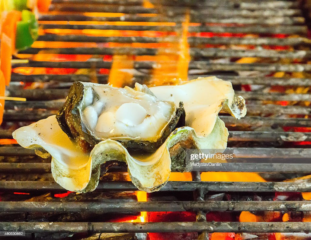 Barbecue Grill cooking seafood. : Stockfoto