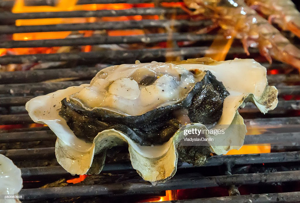 Barbecue Grill cooking seafood. : Stock Photo