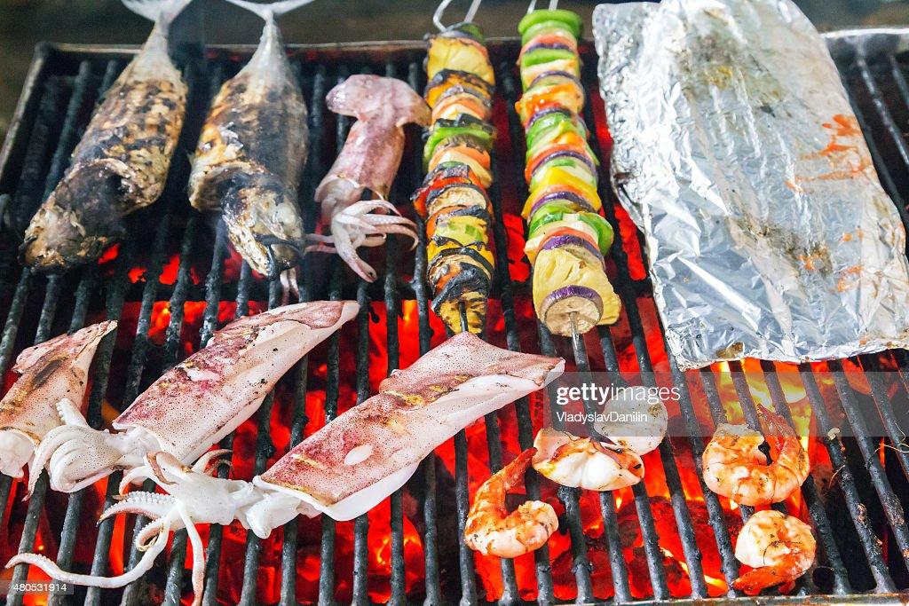 Barbecue Grill - sea food BBQ : Stockfoto