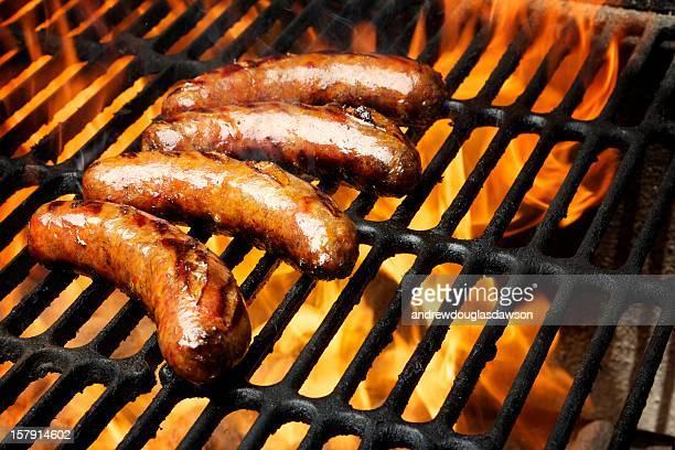 Barbecue grill with sausage on it