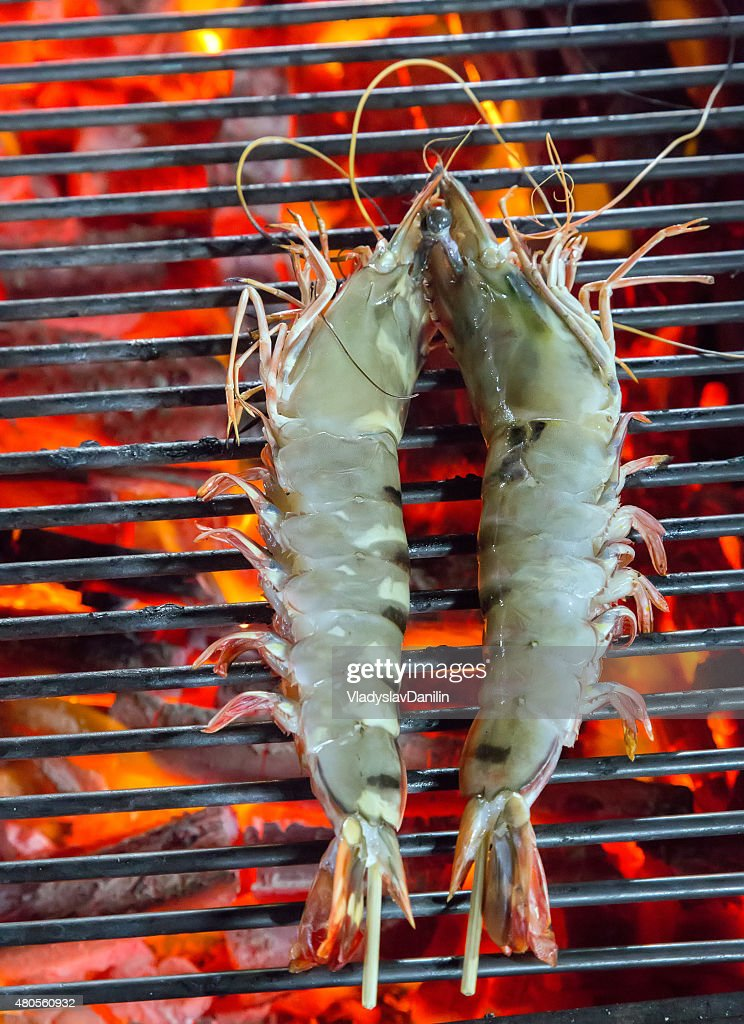 Barbecue Grilled prawns cooking seafood. : Stock Photo