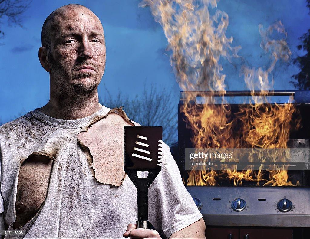 Barbecue Guy - Not Happy : Stock Photo