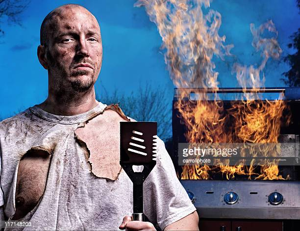 barbecue guy - not happy - burnt stock pictures, royalty-free photos & images