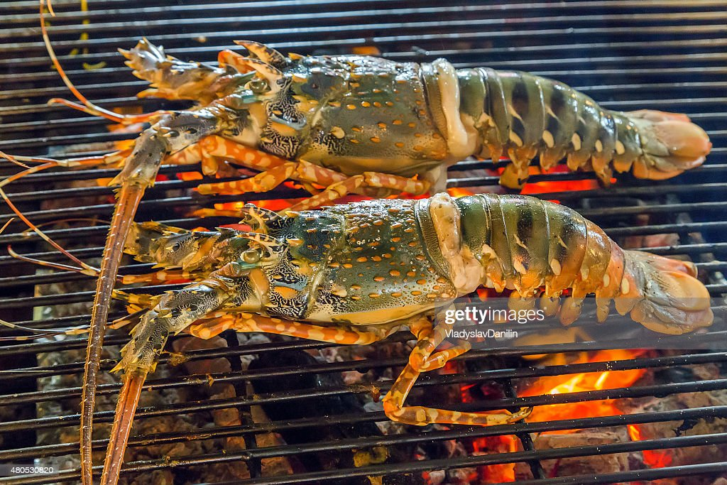 Barbecue lobster dinner at the restaurant : Stock Photo