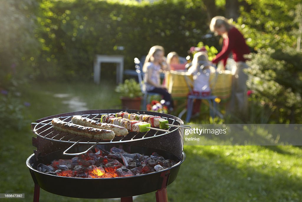 Barbecue on a summer evening : Stock Photo