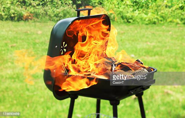 Barbecue outdoors with large flames