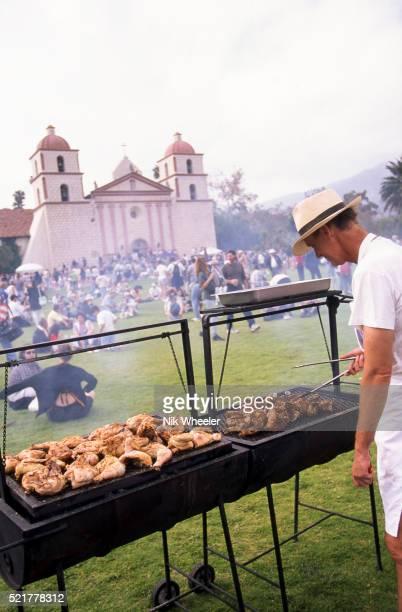 barbecue outside santa barbara mission during fiesta celebrations; santa barbara, california, usa - mission santa barbara stock pictures, royalty-free photos & images