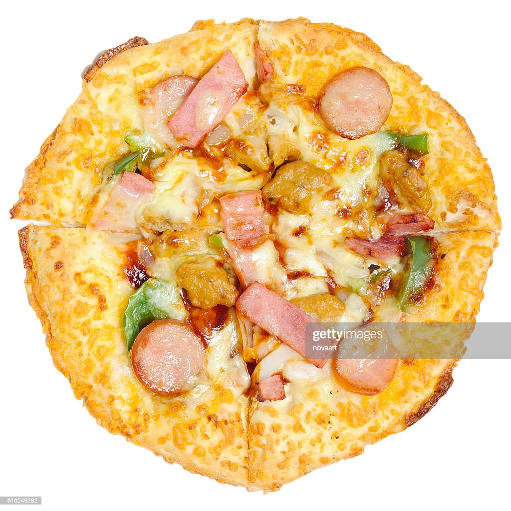 Barbecue pizza divided into four parts on white background : Foto de stock
