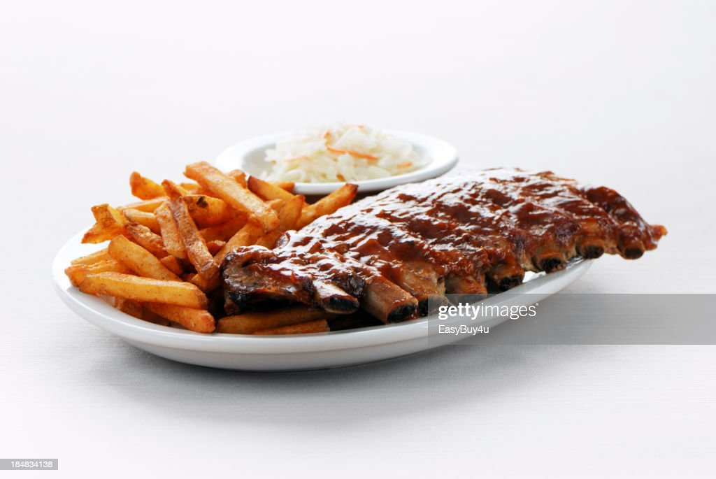 Barbecue ribs and fries : Stock Photo