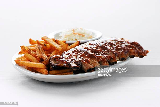 Barbecue ribs and fries